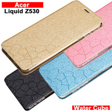 For acer liquid z530 case cover leather luxury water cube pu flip case for acer z530 cover case 4 style liquid z530 phone case(China)