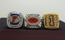 One Set 3 PCS 2008 FLORIDA GATORS BCS SEC AND NCAA FOOTBALL National Championship Ring 7-15 Size TEBOW Name Engraved Inside(China)