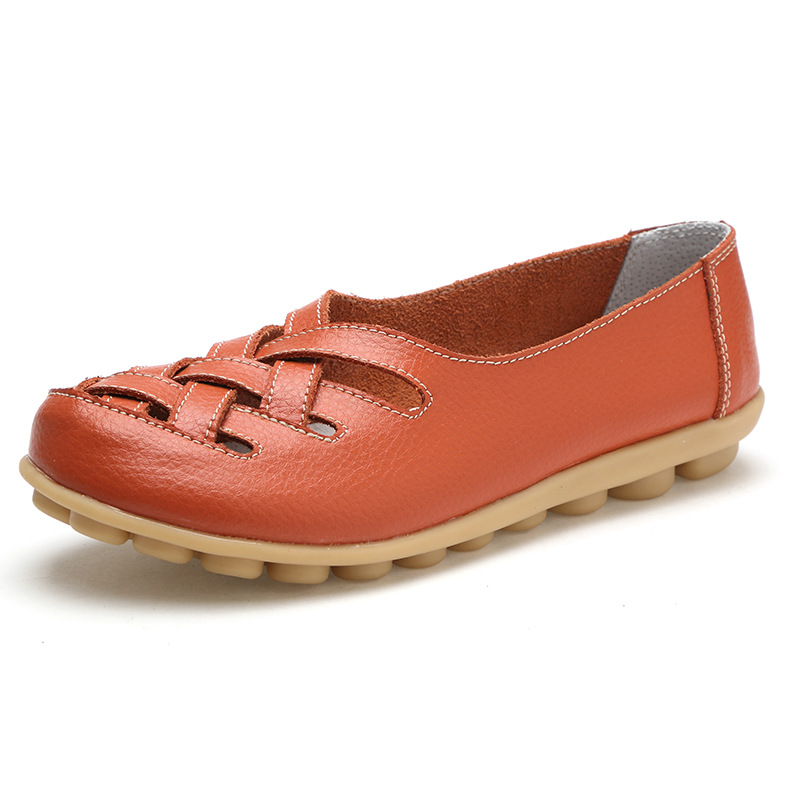 2017 Fashion Genuine Leather Casual Loafers Shoes Women Sandals Summer Shoes Flats with Hollow Out(China)