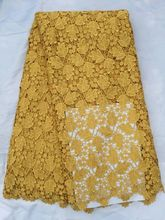 5 Yards/pc nice looking gold leaves pattern african guipure lace embroidery water soluble lace fabric for clothes QW20-1