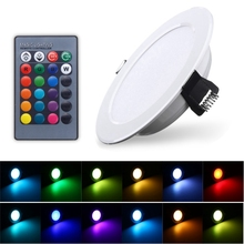 1 PCS 3W Round RGB LED Panel Light Down Light Recessed Lamp Bulb With Remote Control AC85-265V(China)