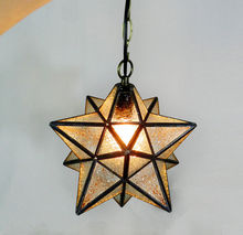 Loft Vintage Ceiling Lamp, Shooting Star Tiffany Glass Pendant Lighting for Home Aisle Corridor Porch Shop Decoration