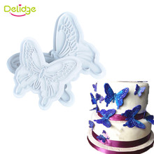 Delidge 2Pcs/set Butterfly Shape Fondant Cake Decorating Plastic Cutter Embossing Cake Mould Sugarcraft Plunger Decor Press Mold