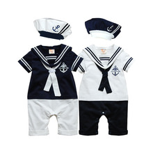 Baby rompers Navy Sailor uniforms summer baby clothes Short sleeve one-pieces jumpsuit + hat baby boys girls clothing 2017 gift(China)