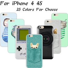 Pattern Crackpot People Cloth Bag Sleep Cat Soft Silicon Cell Phone Cases For Apple iPhone 4 iPhone 4S iPhone4S Case Shell Cover(China)