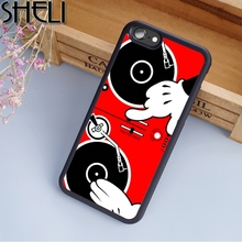 SHELI Cartoon Hand Dj Turn Table Phone Case For iPhone 6 6S Plus 7 8 Plus X 5S Back Cover For Samsung Galaxy S5 S6 S7 S8 edge(China)