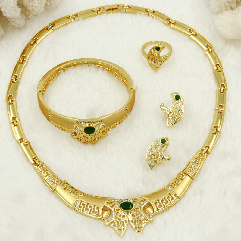 Retail 2017 African Charm Woman Gold Necklace Green Crystal Design Jewelry Dubai Fashion Bride Wedding Jewelry Accessories(China (Mainland))