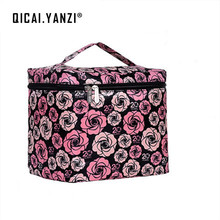 QICAI.YANZI Women Makeup Girls Flower Series PVC Portable Ladies Business Zipper Cosmetic Bag Casual Purse Mochila Feminina Z304