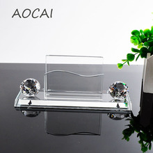 AAA K9 clear Crystal Pen Pencils Holder Remote Control Case Box Business Card Stand Desk Organizer Set Office Table Accessories