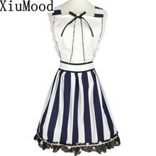 XiuMood Fashion Maid Retro Cute 100% Cotton White Stripe Lace Bow Tie Decoration Apron Kitchen Cooking Food Garden Woman Aprons