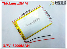 3.7V 3000mAh 306090 Lithium Polymer Li-Po li ion Rechargeable Battery cells For Mp3 MP4 MP5 GPS PSP mobile bluetooth