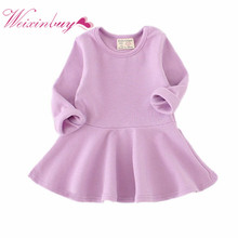 Baby Girls Dresses Autumn Long Sleeve Spring Toddler Dress Girls O-neck Ruffles Dress Girls Clothes