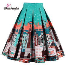 Dasbayla 2017 Women Print Vintage Pleated Skater Skirts High Waist A-Line Retro Swing Design Statue of Liberty Print