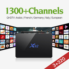 X92 Android 6.0 4K Amlogic S912 Octa Core 3G32G Smart IPTV Set Top Box with QHDTV 1300 Arabic French UK Europe IPTV Subscription