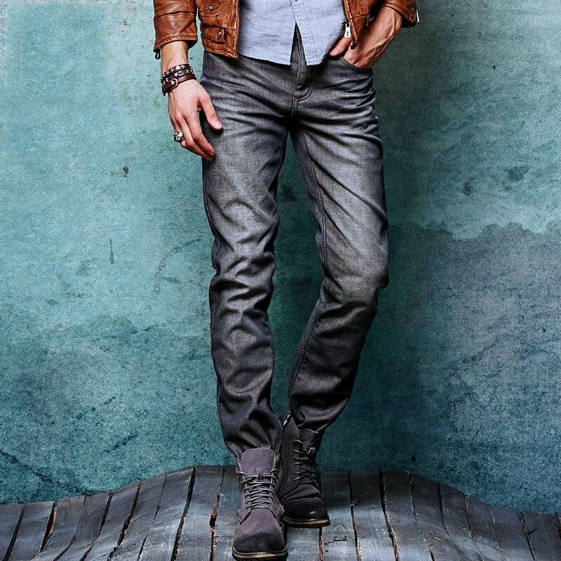 Aolamegs Men Denim Pants Mens Thicken Warm Fleece Slim Jeans Pants Boys Pure Cotton England Homme Denim Trousers Jeans BottomsÎäåæäà è àêñåññóàðû<br><br>