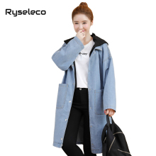 Ryseleco Women Harajuku Super Long Denim Trench High Fashion Patches Hooded Big Pocket Classic Loose Straight Jeans Coat Outwear(China)