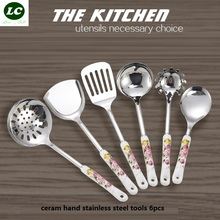 free shipping cooking tools 6pcs ceram stainless steel utensils tableware set ceramic kitchenware set(China)