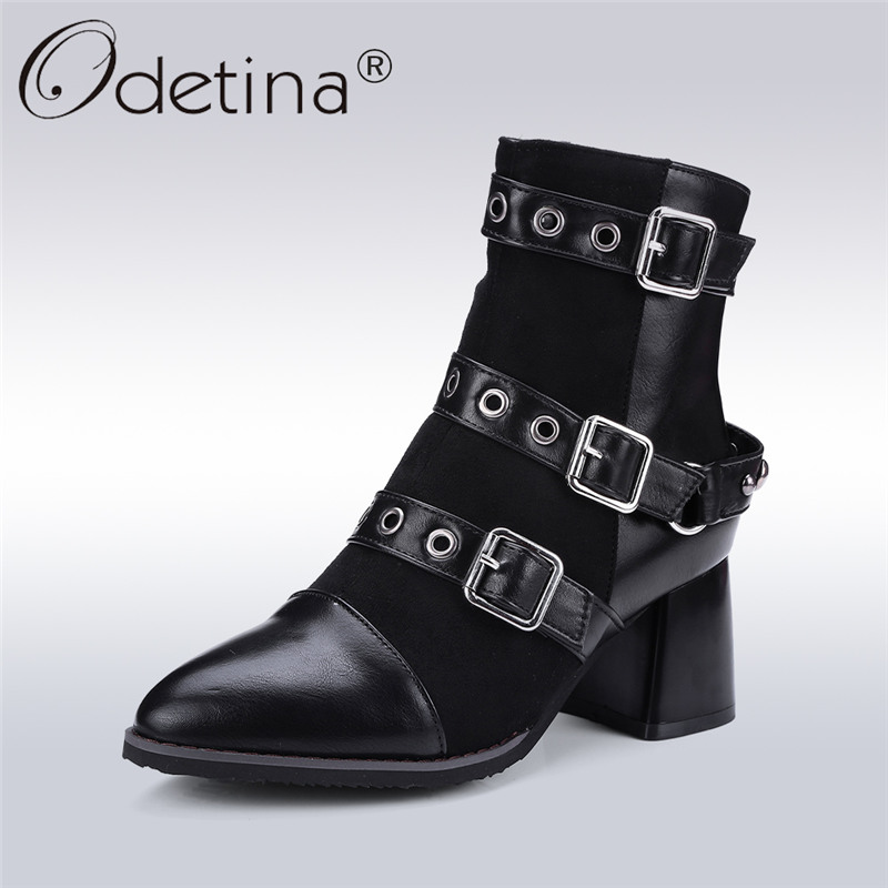 Odetina New Fashion Women Metal Buckle Ankle Boots Pointed Toe Gothic Punk Style Motorcycle Boots Winter Shoes Black Big Size 48<br>