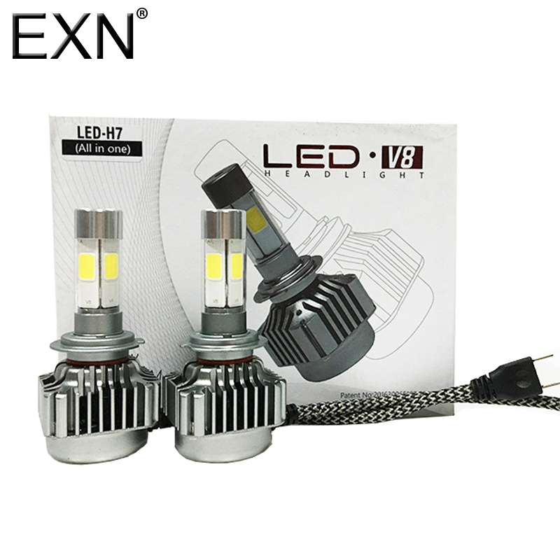 All-in-One V8 LED Headlight H7 Car Headlight H7 Bulb Auto Front Bulb 80W 8000lumen Automobiles Headlamp 6000K LED Headlight Bulb<br>