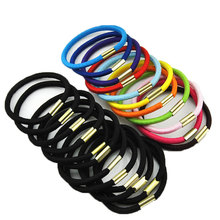 10pcs/lot Head Bands Hair Holders Elasticity Rubber Band Hair Ties For Girl Women Hair Accessories Black Candy Colored Hair Gum(China)