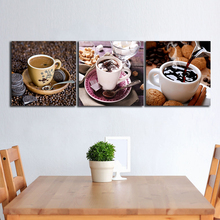 3 Panels Chocolate_Cup_Spoon paintings for the kitchen fruit wall decor modern canvas art wall pictures for living room no frame