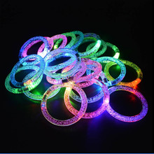 2017 Hot Sale Light up Bracelet Flashing 2pcs/lot Colorful Changing LED Bracelet Acrylic Glowing Bracelet Toys For Christmas(China)