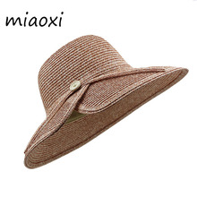 [miaoxi] High Quality Women Sun Hat Summer Straw Caps Fashion Lady Big Fedoras Hats With Button Paper 7 Colors Adult Casual Caps(China)