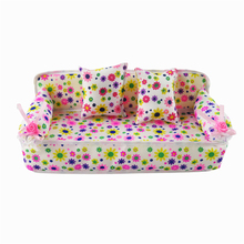 Cute Miniature Barbie Doll House Furniture Flower Cloth Sofa With 2 Cushions For Doll Accessories Kid's Play House Toys(China)