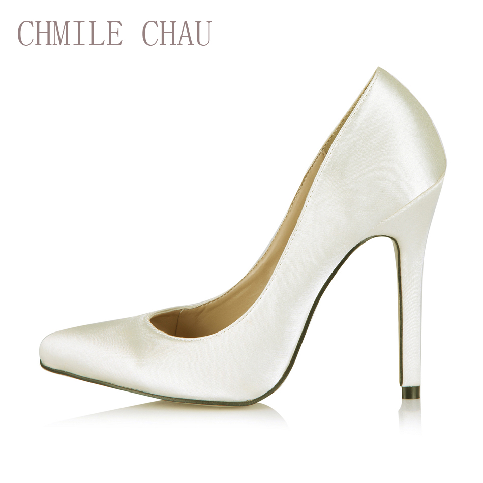 CHMILE CHAU Ivory Satin Sexy Dress Party Shoe Women Pointed Toe Stiletto High Heels Shallow Ladies Pumps Zapatos Mujer 119-b10<br>