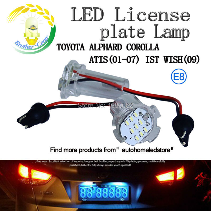 Brother-coop 2pc X LED Number Plate lamp for Toyota Altis Corolla Wish with E8 Certificate Error free License Lamp<br><br>Aliexpress