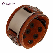 Buy Vintage Handmade Genuine Leather Bracelets Brown Punk Wide Cuff Bracelets & Bangle Women Men Unique Jewelry Accessory 2017 for $3.12 in AliExpress store