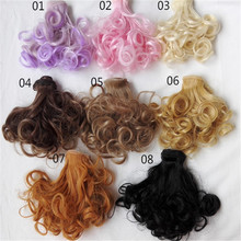 2017 Fashion 15cm*100cm Dolls Wigs Dolls Accessories for 8 Color Choice Curls Colorful Wavy Hair Doll Decors Childrebn Education(China)