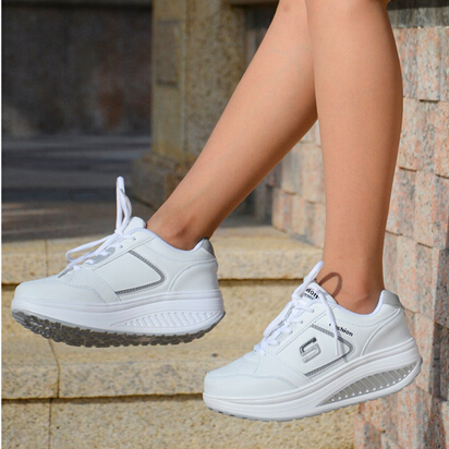 New Style Ladies Casuals PU Leather Ladies Fashion Shook Casuals Platforms Women Low Lace Up White Shoes Student Casual Shoes<br><br>Aliexpress