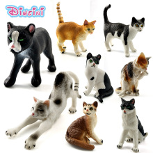 Farm Simulation Cats mini animal models toy small plastic animal figures home decor Gift For Kids figurine dolls Cake Decoration(China)