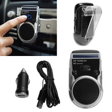 1 Pcs Solar Powered Bluetooth Car Kit LCM Display Caller ID Hands Free Bluetooth Speaker in Car Handsfree Calling(China)