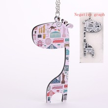 2017 new women cute giraffe long pendant necklace double sided pattern design beautiful girls acrylic fashion statement jewelry