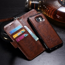 For Samsung Galaxy S7 Edge Luxury Retro Oil wax embossed split Leather Wallet Book Style Flip Funda Case For Galaxy S7Edge Cover