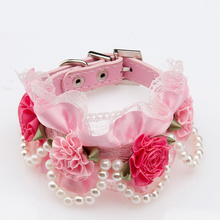 Fancy Dog Pet Collar Leather with Crystal Rhinestone Buckle Design Rose Lace Pearl Collar for Small Medium Dogs Pink White 40E(China)