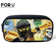 FORUDESIGNS Girls Cosmetic Bags 3D Cartoon Ninjago Print Student Pencil Case Bags Kids Boys Pen Pouch School Supplies Stationery