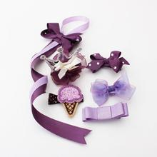 1pcs Girl's Purple Headwear Novelty Barrettes Floral Lace Hair Clips Bow Crown Ribbon Hair Accessory Hairpins Ornament Girls Z30