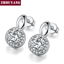 Top Quality Multi Prongs Synthetic Created Cubic Zirconia Stud Earrings Silver Color with Round Lady's Piercing Earrings ZYE841(China)
