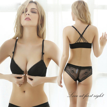Buy Femal Intimates Front Closure Sexy Lingerie Set Gathering VS Underwear Women Lace Push Bra Set ABC Cup Padded Bra Panty