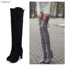 size35-43 Womens Imitation Suede Upper Knee High Heel Boots Sexy Stretch Overknee High Heels Women's Shoes over the knee boots