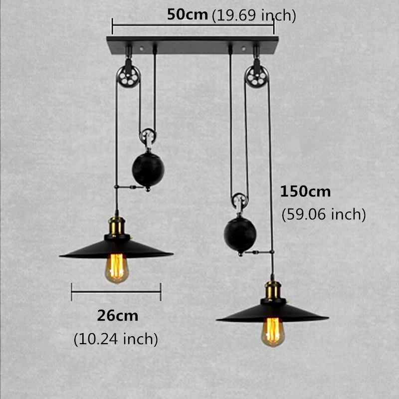 Loft vintage pendant lights Bar Kitchen Home Decoration E27 Edison Light Fixtures Iron Pulley Lamp Nordic Industrial Retro 5