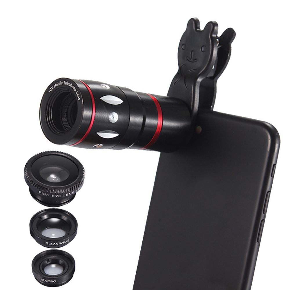 JRGK Universal 10X Camera Telephoto Lens mobile Phone Telescope with Rabbit Clip 4 in 1 Wide Angle Macro Mobile Phone Len 2