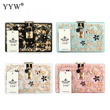 Fashion Style Acrylic Clutch Bag Korean Crystal Glass Pearl Floral Messenger Evening Bag Shoulder Bag More Color For Choice(China)