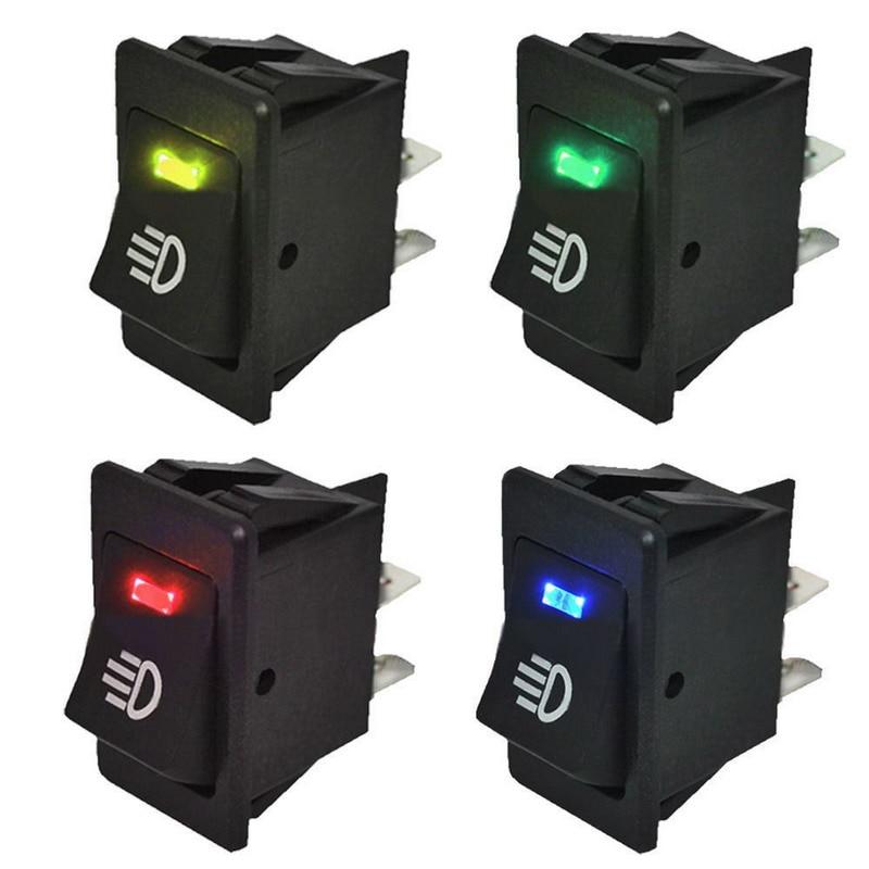 4Pcs Blue Green Red Yellow 12V 35A Universal Car Fog Light Rocker Switch LED Dash Dashboard 4Pin VEQ18 P30 <br><br>Aliexpress