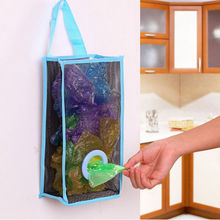 Creative Kitchen Bathroom Storage Bag Hanging Breathable Plastic Grid Garbage Bag Pouch Convenient Extraction Socks Storage Bags(China)