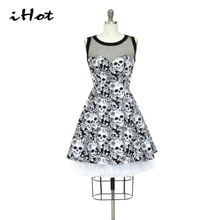 IHOT 2017 Halloween Style Summer Sleeveless Mesh Patchwork Skull Printed Casual Party Pleated swing dress Plus size 3XL vestidos(China)
