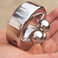 New Stainless Steel Scrotum Bondage Ring Metal Locking Pendant Ball Weight for Male Sex Toy,5 Size for Choice, B46